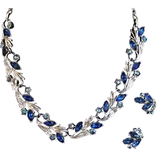 Necklace and Earring Set in Bright Blue, Signed