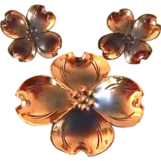 Signed Dogwood Motif Pin and Earrings in Copper over Sterling