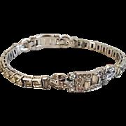 Signed Trifari Deco Rhinestone Line Bracelet
