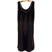 Black Crepe Chiffon Hand Beaded Flapper Dress, c. 1925