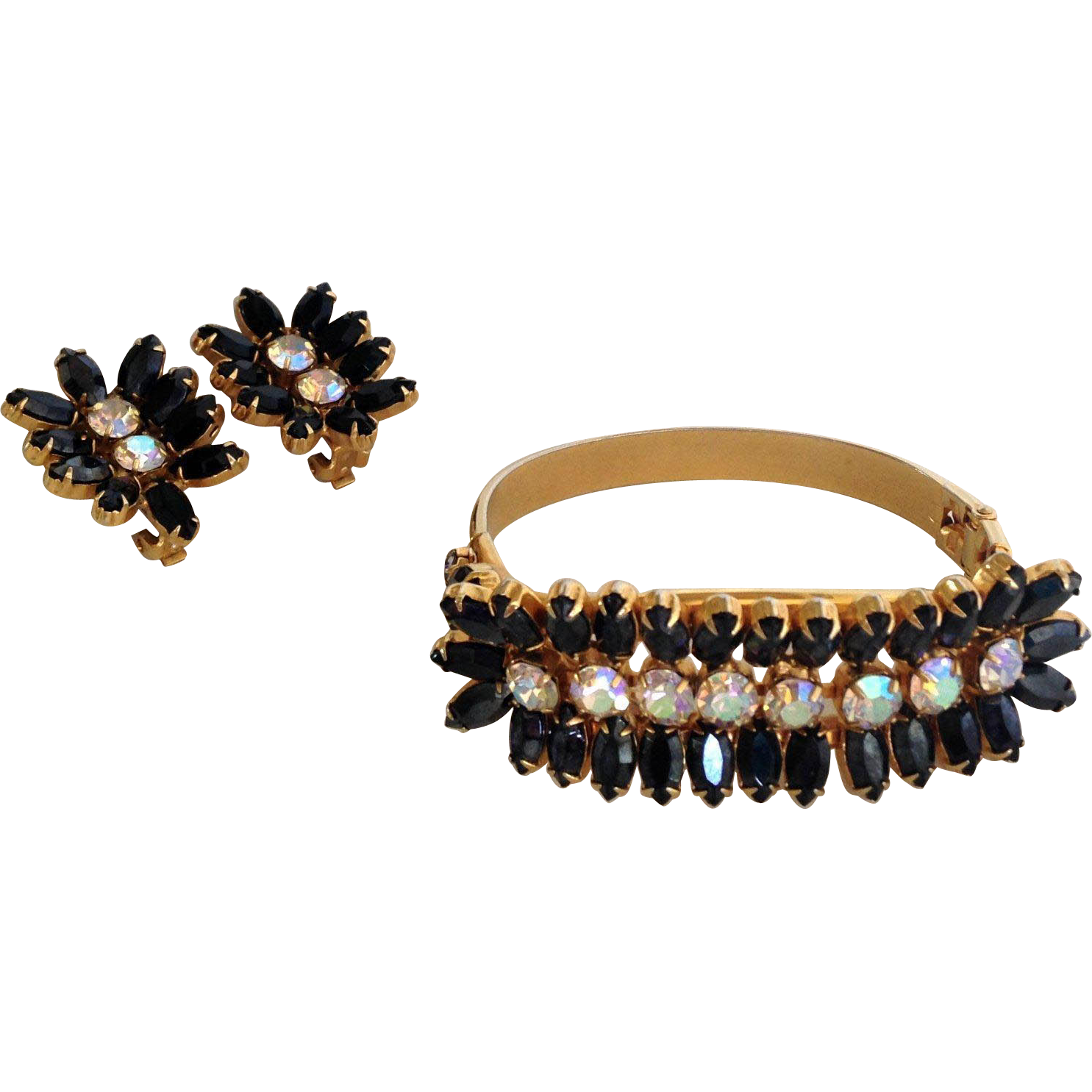 Black and Gold Vintage Hobe' Bracelet and Earrings Set
