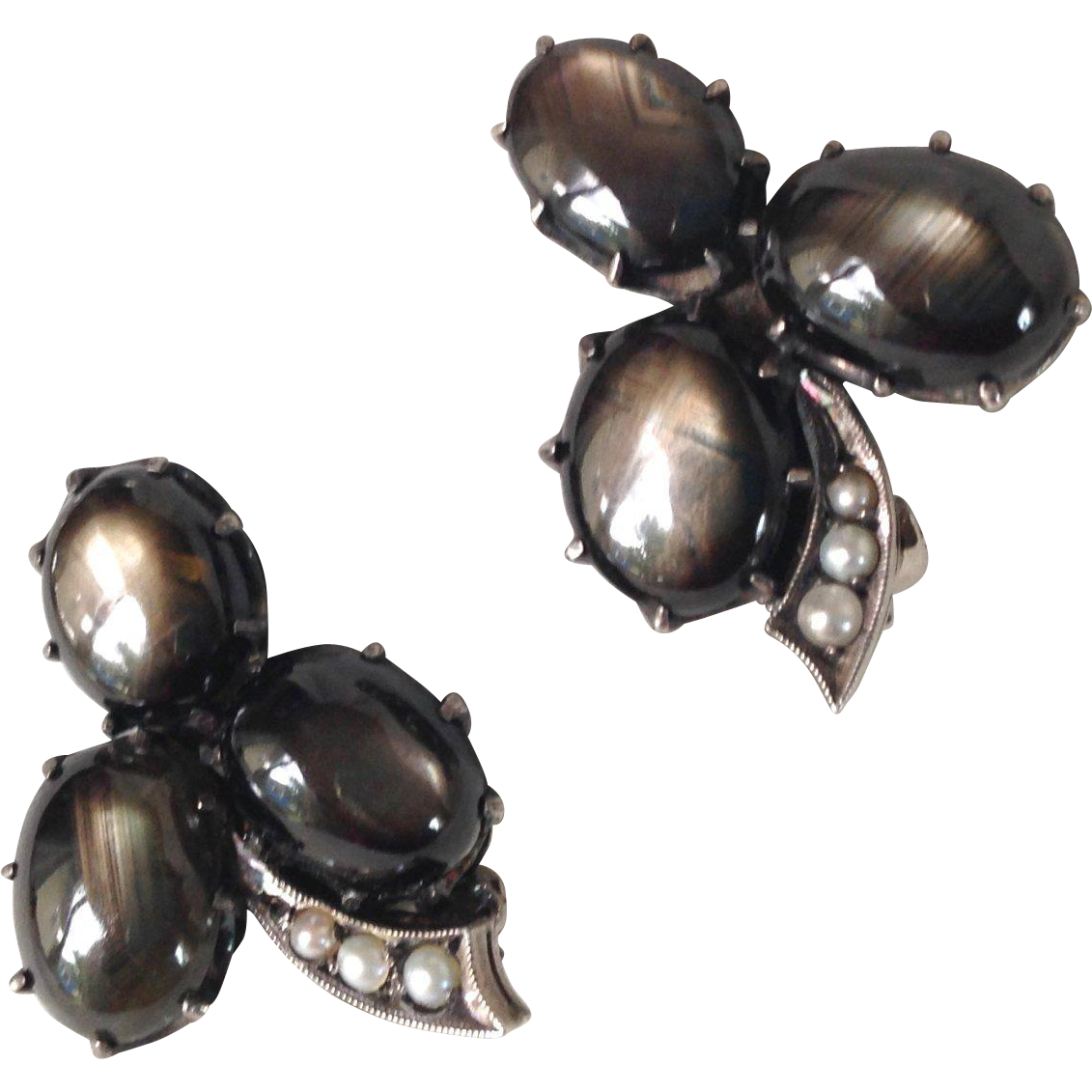 Black Star Sapphire and Sterling Earrings