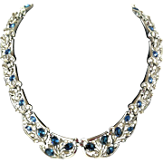 Trifari Blue Rhinestone Necklace