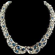 Trifari Blue Rhinestone Necklace
