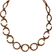 Rose and Yellow Colored Gold Circles Necklace - Gold Filled
