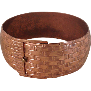 Basket Weave Wide Copper Bracelet
