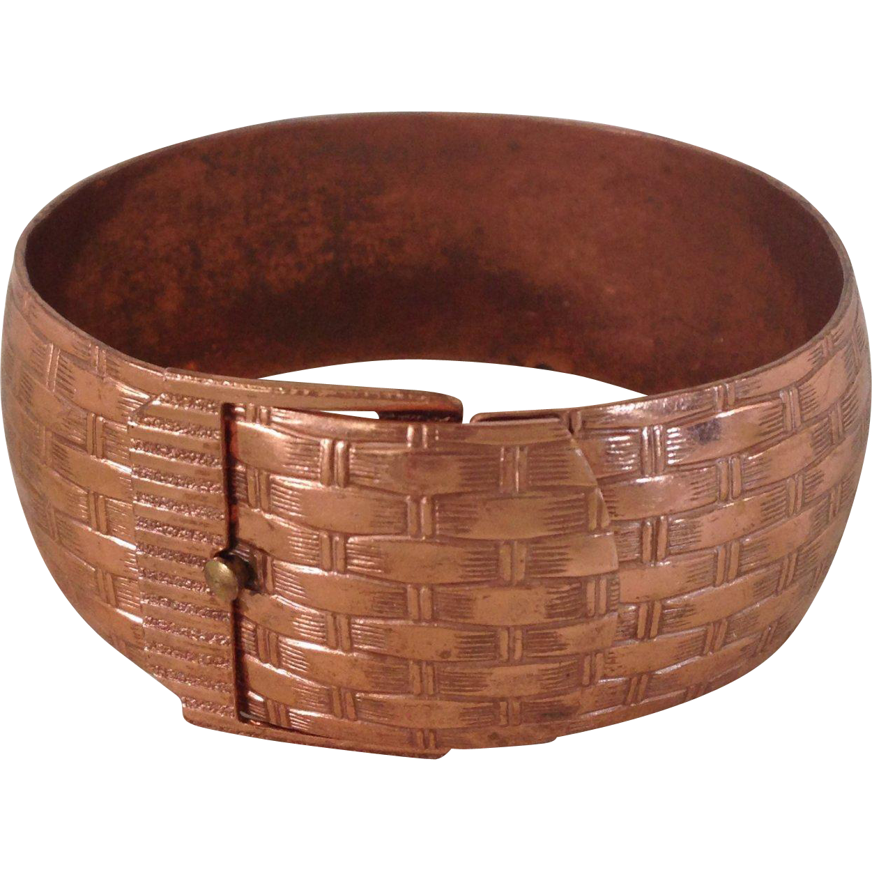 Basket Weave Wide Copper Bracelet