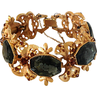 Victorian Revival Gray and Topaz Color Bracelet by Florenza