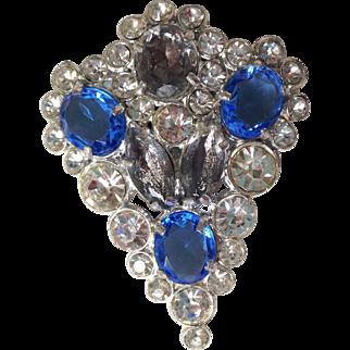 1940s Sapphire Blue Rhinestone Clip