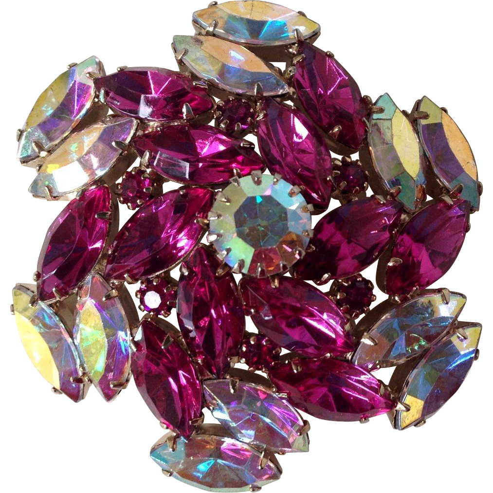 Fuchsia and Aurora Borealis Brooch