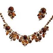 Runway Necklace and Earrings Set in Shades of Topaz Rhinestones