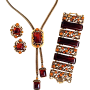 Necklace, Bracelet and Earrings in Gold Tone, Rhinestones, and Faux Amber