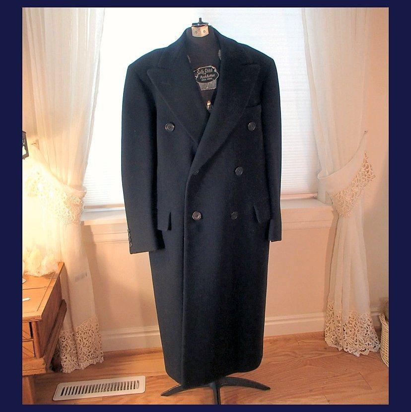 Men's Vintage 1940s Blue Wool Coat