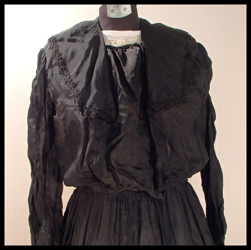 Late Victorian Black Silk Dress