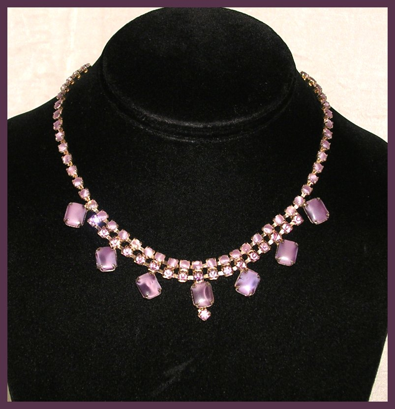 Two-Tone Purple Rhinestone Necklace