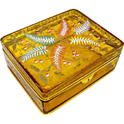 Stunning Very Large MOSER Amber Casket with Typical Moser Hand Painted Design of Colourful Flowers.