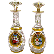Pair of Antique Bohemian Glass Overlay Perfume Bottles