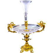 Tall Antique BACCARAT Cut Crystal and Gilded Bronze Centrepiece.