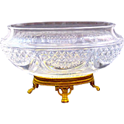 Antique French Cut Crystal and Dore Bronze Jardiniere