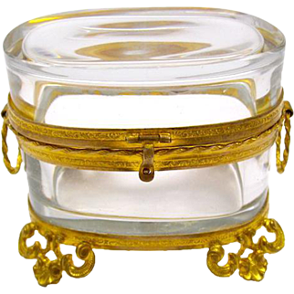 Antique Miniature French 19th Century Oval Crystal Casket Box