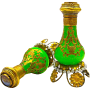 Pair of Antique Palais Royal Green Opaline Perfume Bottles, Each with Eglomise Miniature of Paris.