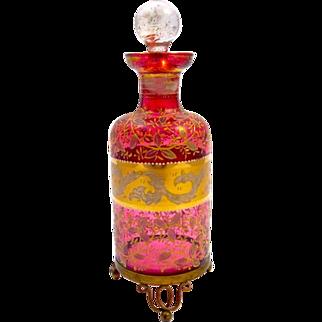 Antique MOSER Bohemian Cranberry Glass Enamelled Perfume Bottle on 3 Dore Bronze Scroll Feet.