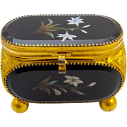 Antique French 19th Century Pietra Dura Jewellery Casket Box.