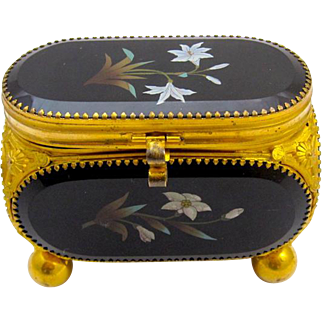 Antique French 19th Century Pietra Dura Jewellery Casket Box.