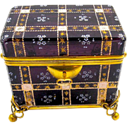 Wonderful Antique Moser Amethyst Glass Double Handle Casket Box with Key.