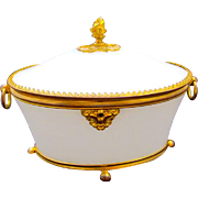 Large Antique French White Opaline Oval Glass Casket Box with Classical Finial