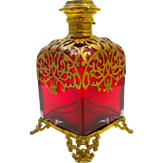 Large Palais Royal Ruby Red Scent Bottle circa 1860