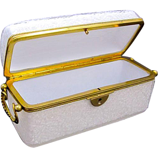 Large Antique French White Opaline Overlaid 'Crackle' Glass Casket Box