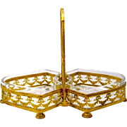 An Empire Gilt Bronze and Crystal Double Bon Bon Dish