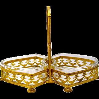 An Empire Gilt Bronze and Crystal Double Bon Bon Dish