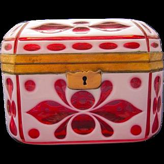 Antique Bohemian Overlay Glass Casket Box