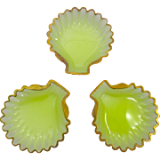 A Trio of Antique French Opaline Glass Scallop Shell Dishes with Gold Undulating Rims.