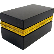 Italian Murano Elegant Black Opaline Glass Cut Crystal Casket Box with Smooth Dore Bronze Mounts.