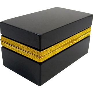 Italian Murano Elegant Black Opaline Glass Cut Crystal Casket Box with Smooth Dore Bronze Mounts.