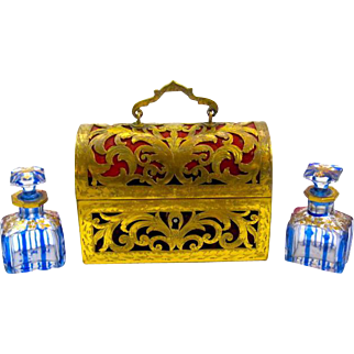 French Dore Bronze and Red Velvet St Louis Perfume Casket