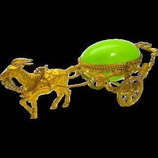 Antique Palais Royal Opaline Glass Egg Carriage