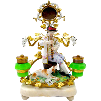 A Rare French 19th Century 'Jacob Petit' Porcelain and Opaline Ink Stand, Pen & Watch Holder and Photo Frame.
