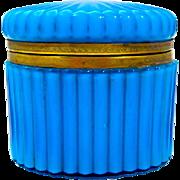 Antique French Oval Casket in Blue Opaline Glass.