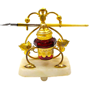 Palais Royal Inkwell with Cranberry Red Inkwell