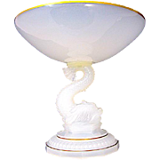 Antique Baccarat Opaline Glass Dolphin Centrepiece