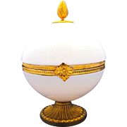 Gigantic Antique French White Opaline Glass Round Casket Box