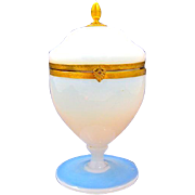Antique French White 'Bulle de Savon' Opaline Glass Hinged Box .