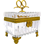 Rare LARGE  Superb Baccarat Cut and Ribbed Crystal Casket with Fine Dore Bronze Mounts.