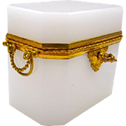 High Quality French White Opaline Rectangular Glass Casket Box