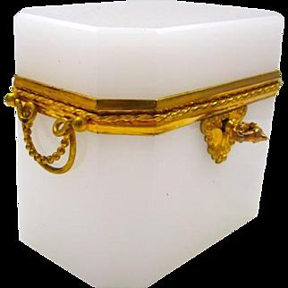 High Quality French White Opaline Rectangular Glass Casket Box