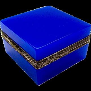 Antique Murano Blue/Purple Opaline Glass Square Casket Box
